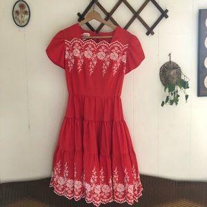 Vintage Embroidered Prairie Dress